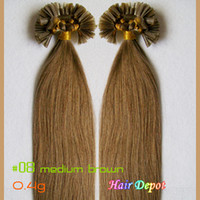 Wholesale 2 quot Keratin Extensions Human Hair g s medium brown A Grade Straight Prebonded Nail tip Hair Extensions Remy