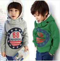 Wholesale Spring new children hoodies boy boys cotton hooded sweater children outerwear cashmere sweater coat Collar children outerwear BC006