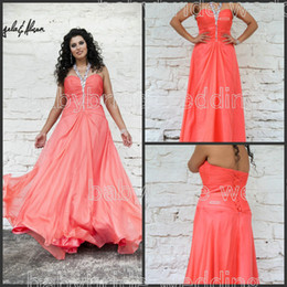 Wholesale 2014 Angela and Alison W Plus Size halter chiffon ruched beading Lace up backless Tangerine prom dresses eveing gowns formal dresses