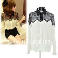 Polyester Women Lace Drop Shipping 2014 New Spring Casual Women's long sleeve Lace Chiffon Blouses Tops Black White Plus Size M L XL XXL 6747