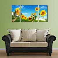 Oil Painting art sunflowers - 3 pieces Modern Wall Painting Sunflowers bloom in the fields picture wall art oil Painting home decor Art Picture Canvas Prints