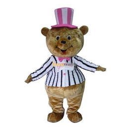 Wholesale Deluxe New Cute Happy Bear Mascot Costume Cartoon Mascot Costume With Fan amp Helmet Real Pictures FT30640