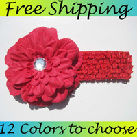 Headbands Lace Floral 12pcs Peony Kid Baby Girl Headband Hairband bow Hair Flower Clip Headwear