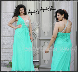 Wholesale 41098W Angela and Alison custom made Plus Size Teal one shoulder lace up chiffon floor length prom dresses eveing gowns formal dresses