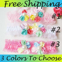 Wholesale New arrival lace pink baby headbands Sweet colored double flowers inlaid pearl ribbon