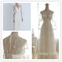 Wholesale Real Images Vintage A Line White Sheer Lace V Neck with Long Sleeves Floor Length Vintage Wedding Dresses Bridal Gowns Organza Tulle