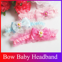 Wholesale New arrival lace pink baby headbands bow headbands