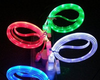 For Samsung   100pcs High Quality 1M 3FT Led Visible Light UP Micro USB Charging Charger Cable Cord For Samsung For HTC For Blackberry