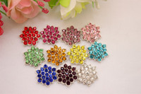 Wholesale 11 colors MM Rhinestone flat back brightness Alloy Metal Buttons Bling stone bottons hair accessories