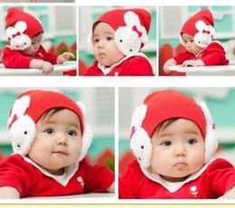 Wholesale Girl Caps Double Rabbit Earmuffs Cap Children Hats Baby Beanie Color MZ0178