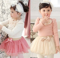 Girl Spring / Autumn Short Wholesales 2014 new spring summer Baby, Kids Clothing Children's girls 2 Sets long sleeve lace T-shirt +tutu skrits 2 sets suits HH-123