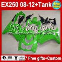Wholesale 7gifts Tank For Kawasaki Ninja EX250R all green MC109 TOP EX EX250 green Fairings