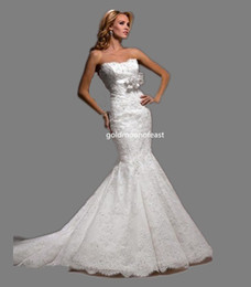 Top Quality ! White Lace Mermaid Wedding Dresses Strapless Lace Over And Lace Edge Ribbon And Flower Under Bust