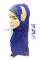 Wholesale 2014 new design muslim flower bead scarf muslim hijab islamic hijab lady scarf flower scarfs