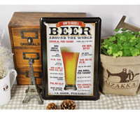 Wholesale 20 cm Retro Painting Bar Pub Decor Metal Painting Beer Poster Home Decals Tin Sign Vintage Plaques