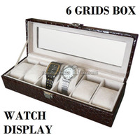 Wholesale High Quality Grids Watch Box in Croco PU Leather with Skylight Window Display Watch Storage Organizer Case