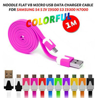Universal   Micro v8 Flat Noodle Cable Data Charger 1M 3FT Lead Cord For Samsung Galaxy s3 s4 note 2 3 colorful DHL Fedex free shipping