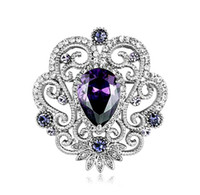 Other Unisex Gift White Gold Beautiful Jewelry Flower Brooch with Purple Cubic Zirconia and Rhinestone Crystals