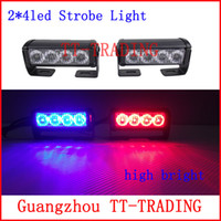 Wholesale 2x4 led Police strobe lights vehicle strobe light car warning lights led emergency strobe lights DC12V RED BLUE WHITE AMBER
