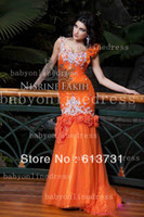 Reference Images Sweetheart Organza Wholesale - Custom Made Sweetheart Floor Length Orange Beaded Arabic Dubai Abaya Kaftan Long Mermaid Evening Dresses Women 2013 With Flowers