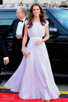 Wholesale Hot Sale Scoop A Line Sash Floor Length Short Sleeve Chiffon Celebrity Dresses of Kate Middleton Evening Gowns Prom Pageant Gowns