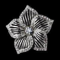 Wholesale 2 Inch Rhodium Silver Plated Clear Rhinestone Crystal Large Leaf Flower Flower Brooch