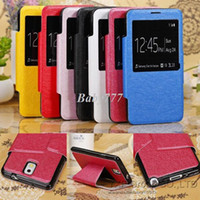Cheap 1pcs lot View Window Silk Print Smart Phone Case for Samsung Galaxy Note 3 III N9000 PU Leather Case Stand Flip Cover