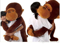 "Forrest Animals Coffee Plush 52""130cm Big Mouth Monkey Pillow PP Cotton Stuffed Monkeys Animals Christmas Gifts Plush Toys Doll"