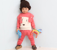 Unisex Spring / Autumn  Wholesale - 2014 Spring Baby Kids Sets Korean Solid Dog T Shirt + Harem Pants 2pcs Boys Girls Suit Children Clothing TS200