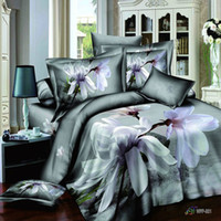 Wholesale 2013 grey fashion d Floral oil painting bedding set Queen full size doona duvet cover bedsheets Linen unique home textile