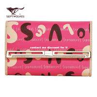 Wholesale The new seven wolves wallet genuine leather ladies long wallet purse leather wallet ornate letters printed
