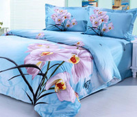 Wholesale Rural style cotton romantic Orchid floral King Queen size princess Duvet cover set B2069 Express shipping