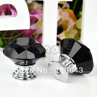 Wholesale 5Pcs mm Black Diamond Crystal Shape Furniture Handle Cabinet Cupboard Wardrobe Door Knob Drawer Pull Knobs TK0980