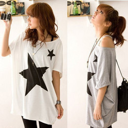 Wholesale New Fashion Women s Loose Star Print Bat Sleeve Cotton Long Tops t shirt Shorts Women White Gray manga curta camiseta