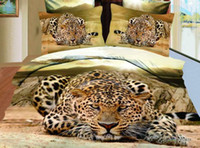 Wholesale 3D Leopard Tiger Horse bedroom home textile bedlinen animal printed quilt duvet cover bed linen set bedding set queen size