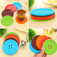 Wholesale Button Coasters Creative Household Supplies Round Silicone Coasters Mat For Bar Table Pad