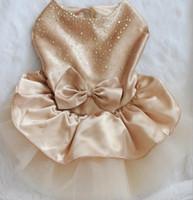 dog wedding dress - 10pcs Princess Style Bichon Teddy Dog Clothes Apparel Cotton T Shirt Pet Skirt with Lace Wedding Dress Diamond Bow