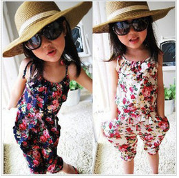Fashion Girls Summer Suspender Trouser Kids Clothes Vest Flower Sleeveless Jumpsuit Pants Children Siamese Suspenders Trousers Floral 594