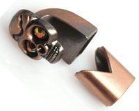 eye hooks - 50Sets Bronze Skull Red Eye Hook Clasps for Leather Bracelet Finding