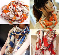 Wholesale 2013 NEW Style Carriage and Chain Plain Scarf Long Chiffon Scarf Women Korean Version Silk Scarf L515