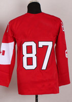 Ice Hockey Boys Full NEW Youth 2014 Olympic Team Canada #87 Sidney Crosby Red Jerseys Embroidery Logos Kids Ice Hockey Jersey Can Mix Order