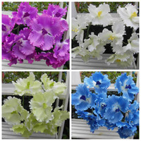 Wholesale 20Pcs cm quot Length Artificial Flower Simulation Single Spring Cattleya Fall Flowers Wedding Home Decoration