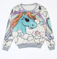 Wholesale Women s Cute Cartoon Unicorn Print Horse Warm Pastel Pullover Rabbit Sweatshirt