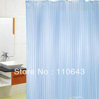 Wholesale High Quality Polyester Modern Bathroom Bath Shower Curtain With12 Hooks Washable Blue TK0907