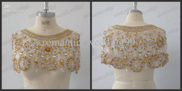 Wholesale Hot Luxury Dazzling Golden Diamonds Rhinestones Bridal Wraps Sexy Matching Wedding Bolero Jackets