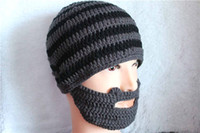 Wholesale funny acrylic handmade black and gery striped skullies knit hat beard ski hat