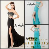 Reference Images Sweetheart Chiffon 2014 Sweetheart lace applique Prom Dresses side slit sheer black Aqua evening gown backless Angela and Alison long evening gowns 41042 A&A