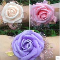 Cheap Hot new Wedding handmade bridal wrist flower bridesmaid simulation rose flower wrist hand wrist flower sisters flower 903