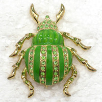 Men's asian clothing brands - C643 K Peridot Crystal Rhinestone Enameling Beetles Insect Pin Brooch fashion clothing brand brooches jewelry gift