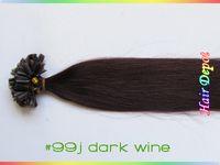 Wholesale quot j Human Nail tip Hair Extensions Keratin dark wine tangle free Straight Prebonded U tip Hair Extensions